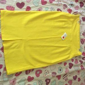 Bright yellow midi skirt bodycon